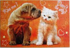 Kiss me! (Leonisha) Tags: puzzle jigsawpuzzle cat chat katze ktzchen kitten dog hund welpe puppy trefl