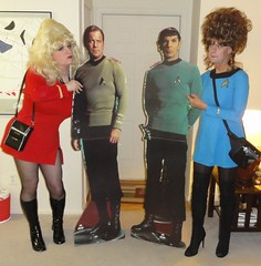 With our candidates (rgaines) Tags: costume cosplay crossplay drag startrek tos dragqueens halloween highheelrace kirk spock funny humor election yeomanjanicerand