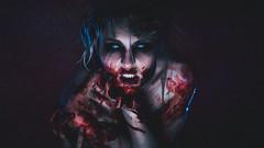 Jacqueline / Blood (Thomas Ohlsson Photography) Tags: blood bluelight freakshow halloween horror jacquelinestand model nightofthelivingdead pentaxk3ii portrait portraiture smcpentaxfa77mmf18limited scary studio thomasohlssonphotography undead weareallfreaks zombie thomasohlssoncom lomma skneln sweden whiteeyes teethandblood