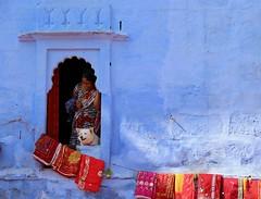 Smiles and Sarees (Alex L'aventurier,) Tags: jodhpur india inde colors colours wall mur fenêtre window candid blue bleu dog chien street rue urbain urban city ville sari clothes market marché smile sourire saree
