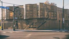 hygienic dress league (simple pleasure) Tags: mural waterlooartsdistrict zoeticwalls northcollinwood baywindows gasmask bird hand cleveland storefronts manholes