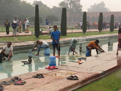 2016-11-04 Taj Majal - cleaning the pools by hand (Travel With Olga) Tags: tajmahal india agra mosque islam religion tomb mausoleum crypt mughal mogul mongol architecture monument cenotaph marble smog pollution monkey pools islamicart sandstone shahjahan mumtaz love lovers