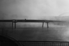 how small we really are (IcarusBlue) Tags: bicycle mother child backseat fog river bridges