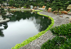Stone Path by the Pond (Colorado Sands) Tags: garden pond stone path sandraleidholdt asia hongkong diamondhill kowloon nanliam botanicalgarden nanliamgarden water chinese