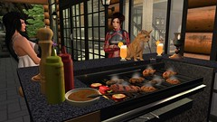 Australian Tradition (alexandriabrangwin) Tags: alexandriabrangwin secondlife 3d cgi computer graphics virtual world photography ginger cat cooking barbeque bbq australian tradition funny silly family mondybristol sausages rissoles steak chicken legs wings capsicum sauce mustard orange tropical cocktails back porch verandah evening meat roscoe house log cabin mekica stiched leather dress wife