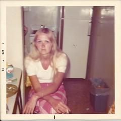 Monica P,  April 1973 (STUDIOZ7) Tags: woman kitchen girl trash cigarette can pop smoking blond 70s salem soda refrigerator ashtray 1970s smoker matches seventies softdrink royalcrowncola blueeyed rccola