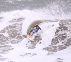 IMG_0385 (morrisoneoin) Tags: ocean sea newzealand beach surf action outdoor wave surfing auckland nz surfboard westcoast muriwaibeach