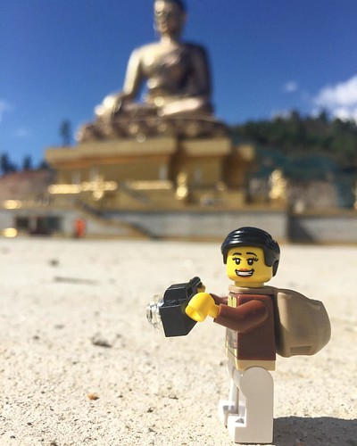 #Legopau making the most of her visit to #Bhutan. Taking snaps of the 164ft tall Buddha Dordenma in #thimphu #lego #legostagram #legographer
