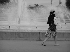 Girl With A Bow Hat (Rand Luv'n Life) Tags: california park street blackandwhite water fountain girl monochrome walking photography clothing san diego balboa odc wtbw