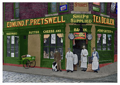 Willington Quay shop 1905 (David Pretswell.) Tags: old family dog shop cheese hardware bacon collie tea ships colorised butter victoriana advert hudson cadburys tyneside handcart grocer frys watsons yesteryear oldshop rowntrees willingtonquay teadealer willingtongut shipschandler pretswell willingtonupontyne edmundforbespretswell