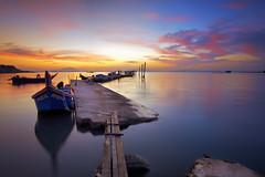 The Beginning... (saiful nizal) Tags: longexposure morning blue beautiful clouds sunrise colorful asia seascapes vibrant jetty down malaysia penang moment jelutong digitalblending margenta saifulnizal
