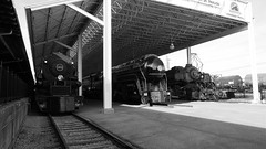 Norfolk and Western 611, 1218, and 2156 On Display Black and White (844steamtrain) Tags: 844steamtrain nw norfolk and western railway railroad 611 1218 2156 484 2664 2882 class j a y6a metal machine steel black tuscan red gold big steam trains engines locomotives roanoke virginia transportation museum displays science technology history travel tourism adventure events landmark art deco photography panasonic gh4 lumix digitial video camera hdr cliche saturday y6b y6 simple expansion coal freight passenger service flickr flickrelite america color photo popular most viewed views favorite favorited outdoor