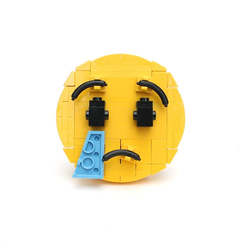 From flickr.com: Brick-moji: Crying face {MID-207422}
