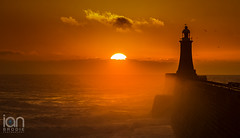 There she Blows (ianbrodie1) Tags: breathtakinglandscapes sunrise tyneside tynemouth pier lighthouse water sun bright orange shadows dark coast coastline seascape birds sillouette cloud