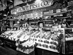 Pike Place (Jim Nix / Nomadic Pursuits) Tags: aurorahdrpro jimnix nomadicpursuits olympus olympusomdem1 pacificnorthwest pikeplacemarket seattle washingtonstate fishcounter mirrorless roadtrip summer sunset travel