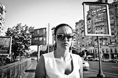 _DSC2954 (stimpsonjake) Tags: nikoncoolpixa 185mm streetphotography bucharest romania city candid blackandwhite bw monochrome sunglasses youngwoman serious face portrait