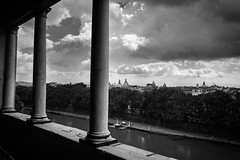 View over the Tiber in Rome B&W (matwolf) Tags: tiber tevere river flus rom rome monochrome clouds cloud noiretblanc ngc noir nuage wolken