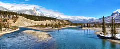 Athabasca River, Jasper National Park, Alberta, Canada - ICE(5)1234-1236 (photos by Bob V) Tags: mountains rockies rockymountains canadianrockies panorama mountainpanorama alberta albertacanada jasper jasperpark jaspernationalpark jasperalberta athabascariver
