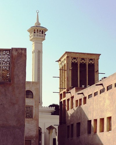 Street View of Minaret of Mosque in Historic Town Quarter at Al Bastakiya.  #burdubai #BurDubaiCreek #AlBastakiya