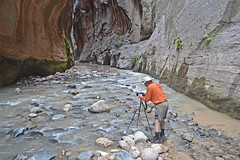 Photographer in the Narrows (Runemaker) Tags: dl runemaker photographer narrows zion virginriver slot canyon river water hiking backpacking trail cliffs landscape nationalpark utah