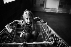 Nothing can stop the shop. (aamith) Tags: portrait bw 35mm portraiture bnwlife bnw costco shopping cart
