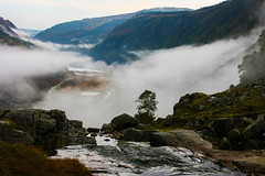 Misty Valley (Costigano) Tags: glendalough wicklow ireland irish stream brook river lake mist fog valley mountains landscape outdoor water rocks