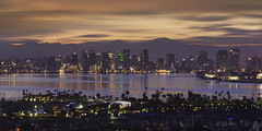 City by the Bay (Lee Sie) Tags: sandiego city skyline bay water reflection sunrise buildings outdoors california sky clouds lights waterfront sd