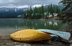 Emerald Lake (corybeatty) Tags: canada banff yoho national park trees landscape water lake emerald canoe canoes green mountain mountains clouds autumn