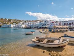 Mykonos - Harbour of Chora (patuffel) Tags: chora harbour beach sand mykonos greece water sea blue sky