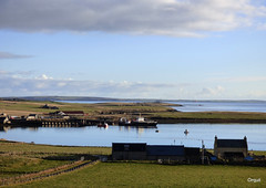 Houton Bay From The West (orquil) Tags: houton bay easterly view seaside two piers workboat hoyhead roro ferry thequoy former farmhouse foreground selfcatering outbuildings scapaflow background distant eastmainland coastline sunny november morning autumn sunshine orkney islands scotland uk unitedkingdom greatbritain orcades interesting nice rural maritime
