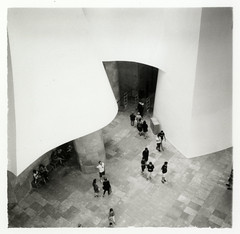 Guggenheim Bilbao interior (Alfred ter Wal) Tags: people bw 120 6x6 film museum analog mediumformat spain interior bilbao hp5 guggenheim mf euskalherria id11 weltaflex noinstagram