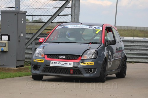 Cameron Pugh after Race 2 at the BRSCC Fiesta Junior Championship, Rockingham, Sept 2015