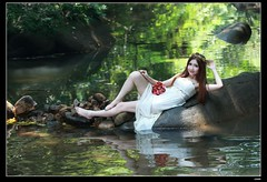 nEO_IMG_DP1U9657 (c0466art) Tags: light portrait sunlight white wet water beautiful female creek canon pose bride colorful asia bright princess little outdoor gorgeous dream clear attractive cloth charming elegant pure 1dx c0466art