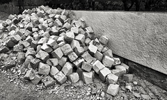 Calceteiros / Pavers (Antonio-Correia) Tags: blackandwhite bw white black portugal monochrome stone work jobs fineart setbal series gravel pavers monovision photographicprojects