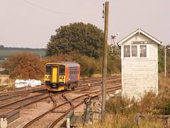 Class 153, 153376 (mike_j's photos) Tags: diesel trains semaphore signalbox eastmidlands dmu railbus class153 multipleunit barnetby fujis5700 153376