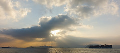 Crepuscular rays? (edward.cheung) Tags: hk hongkong central starferry  victoriaharbor crepuscularray      rx100iii