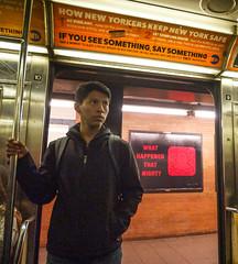 What happened that night? (UrbanphotoZ) Tags: halloween whathappenedthatnight snapchat logo man subway passenger standing hoodie backpack mta advertisement hownewyorkerskeepnewyorksafe ifyouseesomethingsaysomething bevigilant letsomeoneknow station platform upperwestside 1train manhattan newyorkcity newyork nyc ny