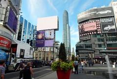 Jeudi 10 septembre 2015. Yonge-Dundas Square.  Au loin, la tour Aura at College Park, 386 & 388 Yonge Street, 77 tages, 272m, 2014.  A gauche, le Eaton Center. (areims) Tags: toronto ontario canada yongestreet aura dundassquare