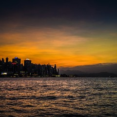 view from ferry (Kai-Ming :-))) Tags: light sunset red sea mountain motion reflection water yellow ferry island hongkong star colorful sony magic hong kong hour onboard hongkongisland victoriaharbour ledboard iso2000 kaiming ilce7m2 kmwhk