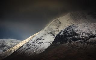 Snowy hill tops in Glencoe