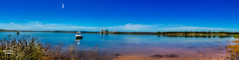 Lake Liddell, Half Moon (Thanks For Your Kind Support) Tags: sky panorama lake reflection pelicans water clouds canon landscape widescreen australia panoramic nsw 1855mm powerstation hdr huntervalley muswellbrook hunterregion kevinwalker lakeliddell canon1100d