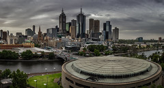 Melbourne (*ScottyO*) Tags: street city bridge trees sky urban panorama architecture clouds buildings river circle cityscape view streetphotography australia melbourne victoria round yarra metropolitan flinders hamerhall