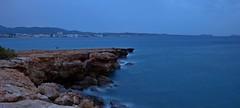 Blue Hour (Erich Hochstöger) Tags: longexposure blue sea seascape rock landscape bay meer outdoor horizon cliffs ibiza bluehour blau eivissa landschaft horizont felsen klippen bucht langzeitbelichtung blauestunde mittelmeer
