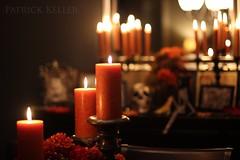 Halloween Altar 3 (BigSéance) Tags: halloweenaltar halloween halloweendecorating halloweendecorations candles candlelight flames candleflames candelabras vintage vintagehalloween skeleton skull orange mirror reflection