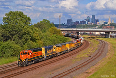 "Westbound Transfer in Kansas City, KS (""Righteous"" Grant G.) Tags: bnsf atsf santa fe kcs kcsm kansas city southern mexico citx emd ge power west westbound railroad railway locomotive transfer"