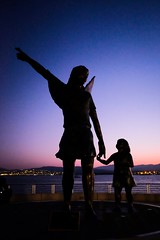 Statue silhouettes at sunset (s.razura) Tags: statue sunset mediterranean sea silhouette southoffrance france europe travel fujifilm ngc