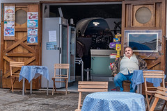 Al Fresco Napping (Culinary Fool) Tags: sorrento restaurant sleeping italy italia 2016 cigar sorrentinepeninsula man checks culinaryfool chairs table marinagrande stranger october 18135mm campania brendajpederson bar
