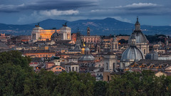 Rome Twilight (jmbillings) Tags: ilvittoriano architecture basilica cathedral churches city colosseum dome italy mountain rome rooftop skyline sunset travel weddingcake