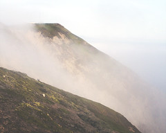 Point Reyes California, foggy cliffs, and two tiny people (L. Grainne) Tags: pointreyes marincounty california lupengrainne landscape ocean fog mist