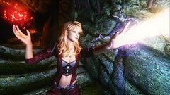 TESV - Lightning blast (tend2it) Tags: kenb elder scrolls skyrim v rpg game pc ps3 xbox screenshot sweetfx enb krista demonica race sg lilith 161 felicia arcane mage magic magik cast caster spell glow red lightning ball green eyes mods